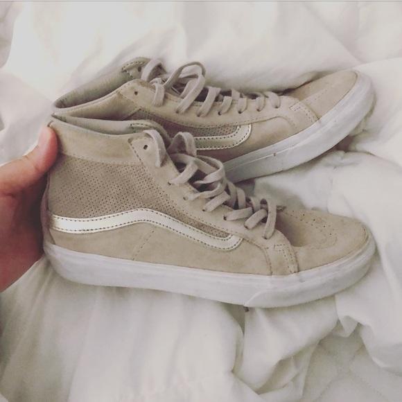 Vans Shoes | Beige Tan Gold High Top Vans Old Skool Style | Poshmark
